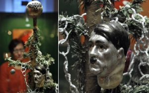 Nazi symbols for Christmas decorations and baubles depicting Hitler's face