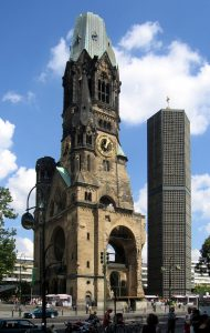 The ruins of the Kaiser Wilhelm Memorial Church next to the newly built church-article-by-sarah-matthias-my-inspiration-for-a-berlin-love-song