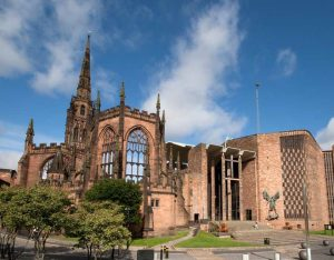 The ruins of the medieval cathedral in Coventry next to the new cathedral-article-by-sarah-matthias-my-inspiration-for-a-berlin-love-song